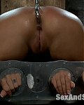 Beautiful slavegirl with big tits gets the asshook and some brutal ass whiping