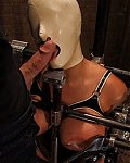 Sexy Latexgirl with huge tits gets her labias clamped and wears the blowjobmask for some hard deepthroats