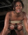 Huge black titted girl helpless, tighly bound and made to cum!