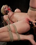 4/h/  	Busty blond sub is tied up, dominated, and shocked by stunning lesbian Mistress