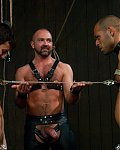 Zwei Gaysklaven mit Keuschheitsvorrichtungen an ihren Schwänzen werden an den Nippel aneinander gekettet